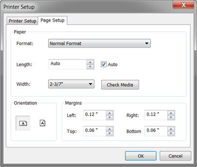 Set the label size, length, and margins - P-touch Editor 5 x