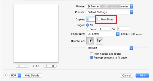 Can't disable Two-Sided printing default - Macintosh