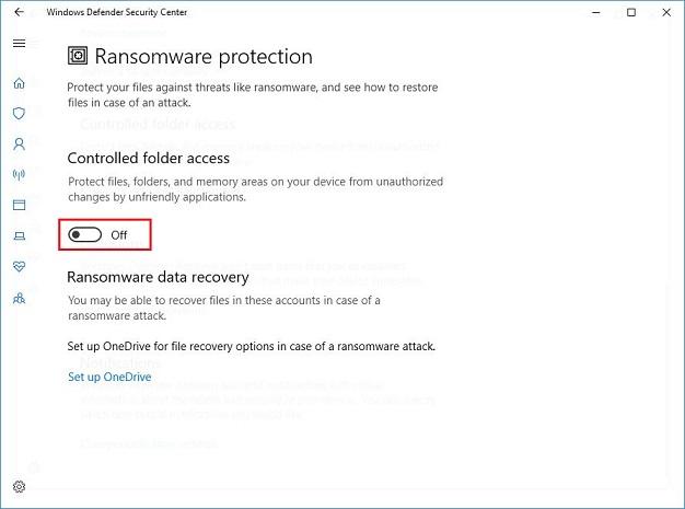 Virus & threat protection - Unauthorized changes blocked