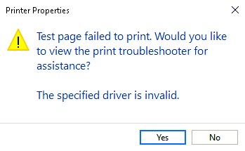 The specified driver is invalid