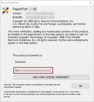 Locate the PaperPort SE serial number