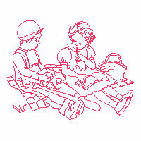 Boy and girl having a picnic