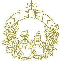 Gold Snowmen Wreath