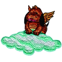 Angelic Dog on a Green Cloud