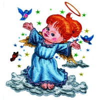 Angel Standing on a Cloud
