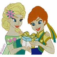 Elsa and Anna with Birthday Gift