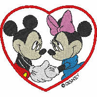 Mickey Mouse & Minnie Holding Hands in Heart