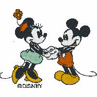 Mickey Mouse and Minnie Mouse Holding Hands