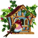 Summer Birdhouse with Sparrow