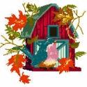 Autumn Birdhouse with Robin