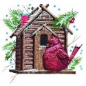 Brown Birdhouse with Cardinal