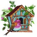 Blue Birdhouse with Pink Bird