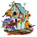 Birdhouse with 2 Yellow Finches