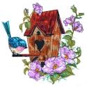 Brown Birdhouse with Bluebird
