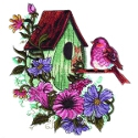 Green Birdhouse with Pink Bird