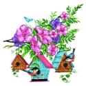 Three Birdhouses with Flowers