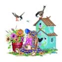 Flowerpot, Doll and Birdhouse