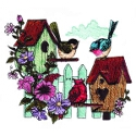 Two Birdhouses, Three Birds
