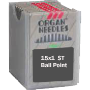 Organ FLAT SHANK Needles,  EXTRA LARGE EYE, Ball Point, Size 12/80, 100 per box