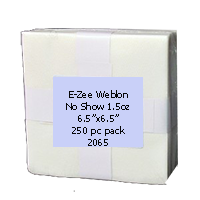 "WHITE-1.0oz Weblon ""No Show"" Backing 6.5""x6.5"" 250pc pk"