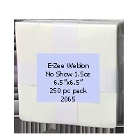 "WHITE-1.0oz Weblon ""No Show"" Backing 6.5""x6.5"" 250pc pk"