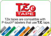 TZe tapes are compatible with P-touch® labelers that use TZ tape.