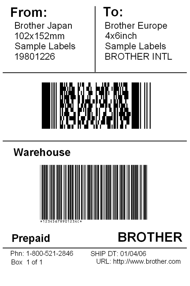 International shipping label template