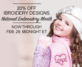 Celebrate National Embroidery Month with 20% Off All iBroidery Designs.