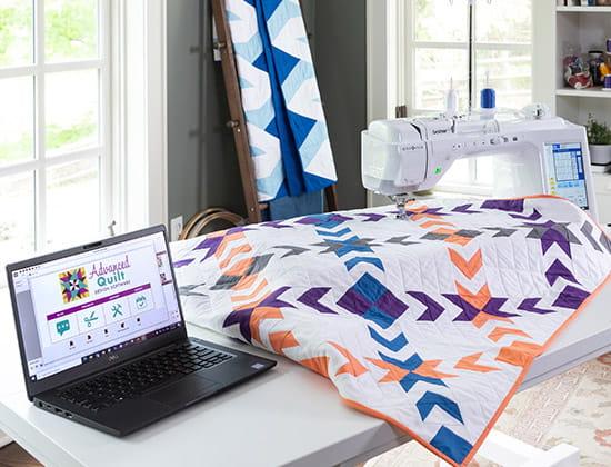 Advanced Quilt Design software on laptop