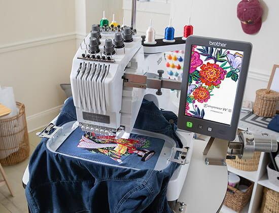 PR680W embroidering flower design
