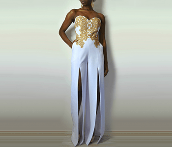 Model with white dress and gold decoration