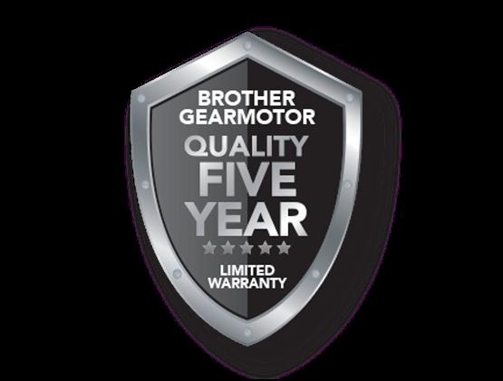 Gearmotor 5 year warranty