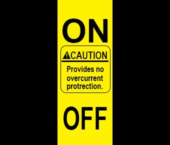 Caution no overcurrent label