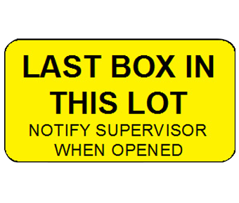Last box in this lot label