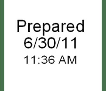 Prepared date time stamp label