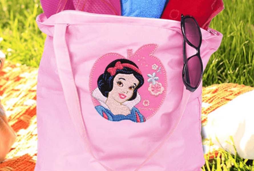 Disney Snow White embroidery on tote bag