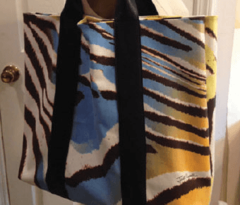 Animal print canvas leather bag