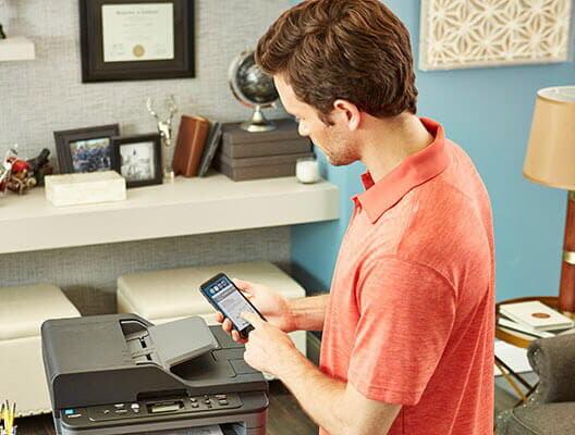 Man using mobile printing