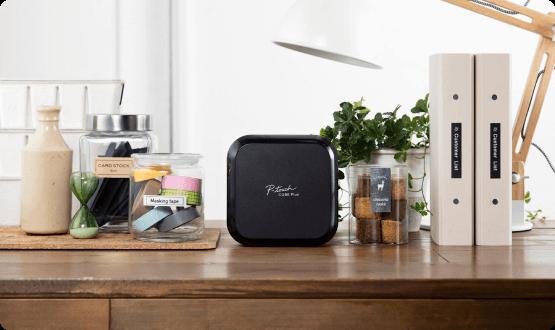 P-touch Cube Plus on a desk