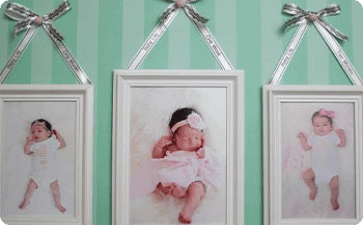 Hanging picture frames with ribbon