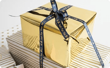Personalized presents with ribbon