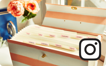 Organized portfolio and Instagram icon