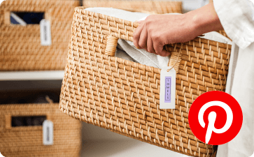 Basket labeled and Pinterest icon