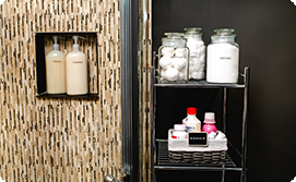 Bathroom with labeled toiletries