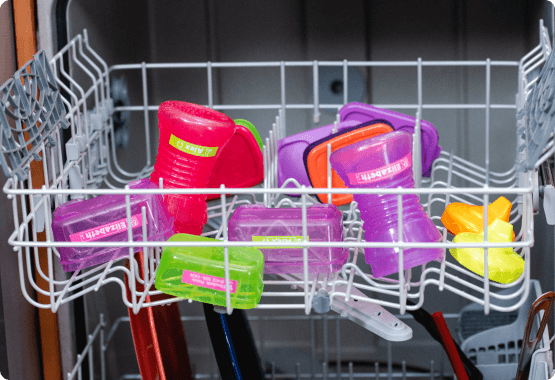 Baby sippy cups in dishwasher with water-resistant labels