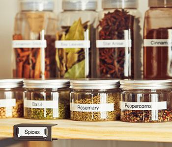 Labeled pantry jars