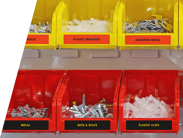 Nuts, bolts and screws in organized containers