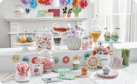 Assorted labeled candy jars