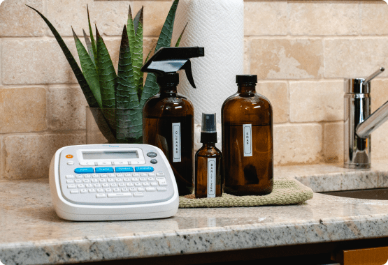 P-touch Home with labeled soap bottles