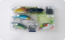 Fishing lures organized